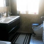 A wudu foot basin at home